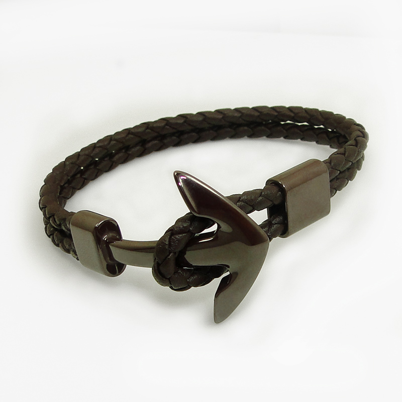 DICARLUN New Ceramic Bracelet Leather Rope Brown Black White Jewelry Anchor Bracelet Men Women Woven Ceramic Jewellery Male Wrap