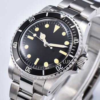 Antique watch Automatic mens Mechanical 1960 Retro Watch Mens 40mm black Sterile Dial Aluminum Sheet Bezel Luminous H748