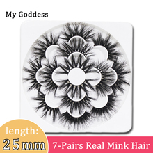 7-Pairs 25mm 3d real Mink-Lashes Eyelash-Extension Makeup-Tools 7-Styles 25 mm Long 5d Natural soft  Fluffy false eyelashes pack