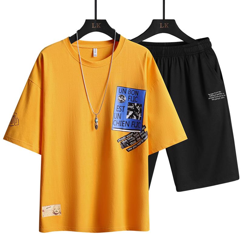 Two Piece Set Summer Men's Harajuku T shirts Printed Clothes Solid Tracksuit T Shirt Men Sportswear Set Black White Shorts 2021