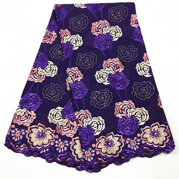 2020 Nigerian lac fabrics High quality Tulle Soft cotton lace fabric embroidery Purple Swiss voile lace in Switzerland V631