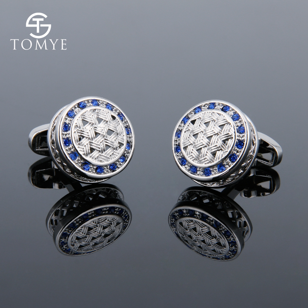 TOMYE Men's High-Quality French Shirt Round Hollow Blue Crystal Cufflinks Business Wedding Luxury Jewelry Fashion XK18S026