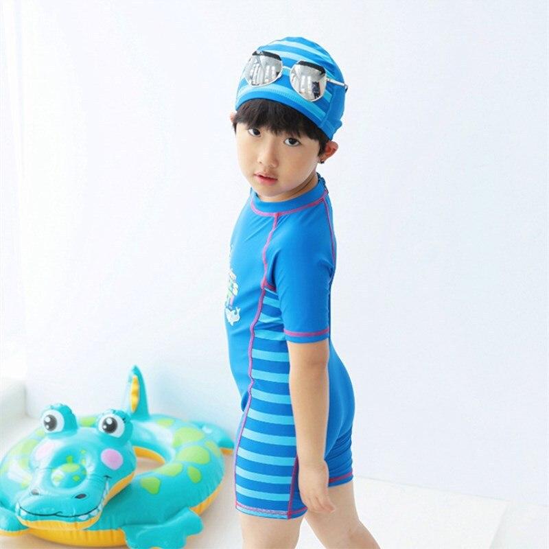 Hot Sales KID'S Swimwear Boy Small Children Dark Blue Plain Color Cartoon Zipper Surfing Jumpsuit Surf Wear Swimwear