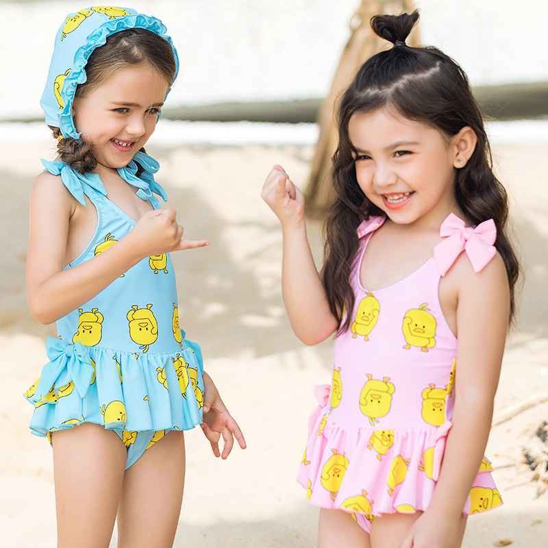 2019 New Style CHILDREN'S Cartoon Bathing Suit Cute Small Yellow Duck Skirt One-piece Send Celebrity Style Swimming Cap Children
