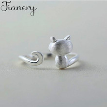 JIANERY New Design Vintage 925 Sterling Silver Cat Rings For Women Boho Antique Rings Party Bohemian Jewelry(China)