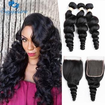 Sapphire Loose Wave Bundles With Closure 3 Bundles Brazilian Hair Weave Bundles Loose Wave Human Hair Bundles With Closure 4 pcs