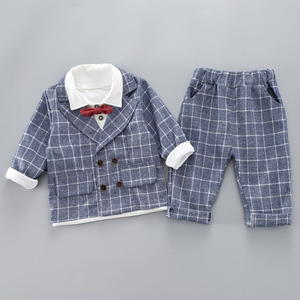 Image 4 - Boys Clothing Sets Plad Suit 3PCS Kids Boys Formal Suit Sets Children Jacket + Pants + Shirt with Bow Clothing Set