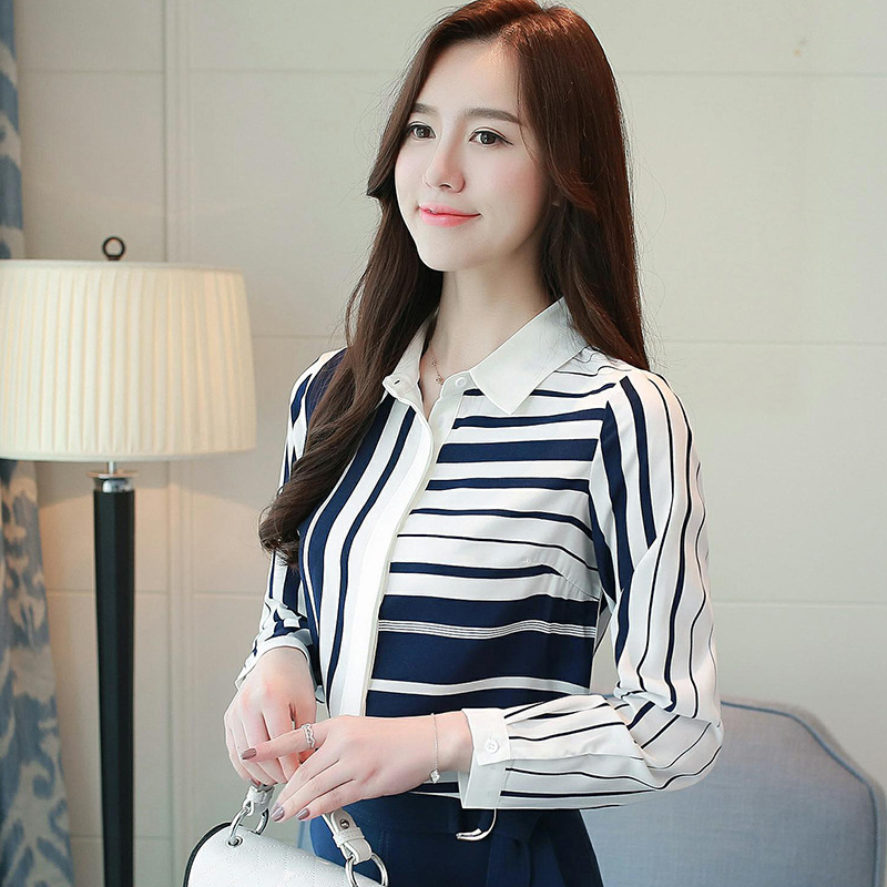 Classical Style Chiffon Blouse Fashion Women striped Long Sleeve Shirt Office Lady Women Tops Blusas Femininas Camisas Mujer 7