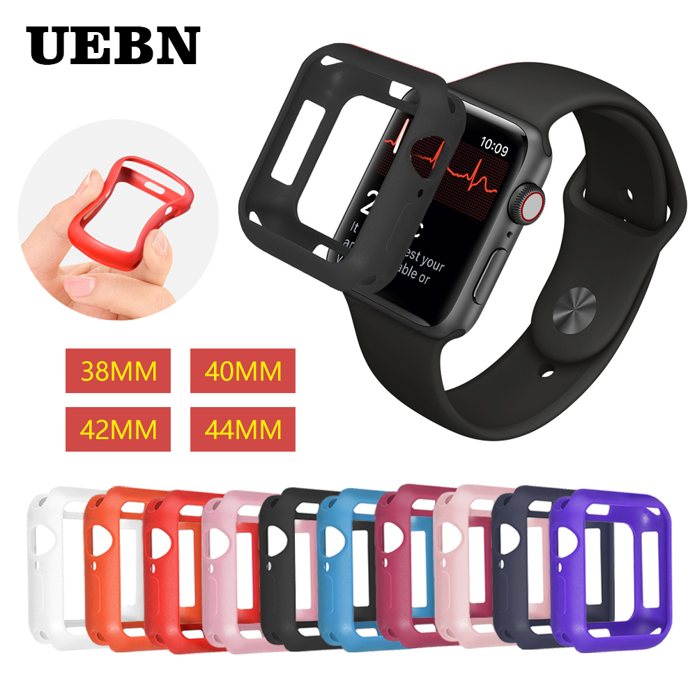 UEBN Fall resistance Soft Silicone Case For Apple Watch iWatch Series 4 3 2 1 Cover Frame Full Protection 38/42/40/44mm case