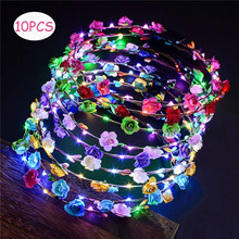 10 Glowing Garland Wedding Party Crown Flower Headband LED Light Christmas Neon Wreath Decoration Luminous Hair Garland Hairband party glowing wreath halloween crown flower headband women girls led light up hair wreath hairband garlands gift