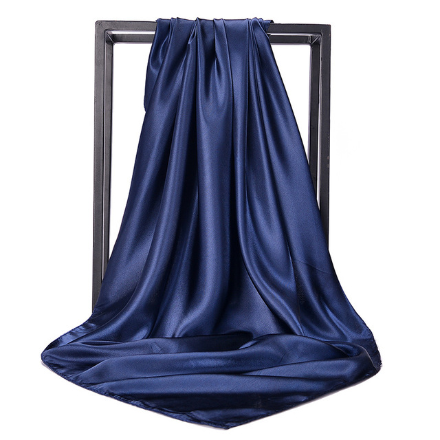 90*90cm chustka satyna jedwabna hidżab szalik dla kobiet jednokolorowe chusteczki do włosów szale kwadratowe szale i okłady szale na głowę pani