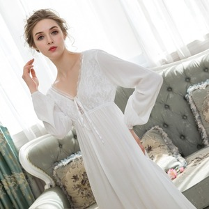 Image 5 - סקסי כתנות הלילה ארוך כותנה תחרה הלבשת נשים מתוק נסיכת סגנון ארמון Nightwear Loose כתונת לילה בתוספת גודל פיג מה Homewear