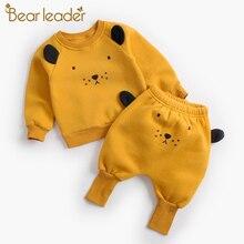 Bear Leader/комплекты одежды для малышей Новые зимние комплекты одежды для новорожденных Повседневный пуловер с рисунком панды + штаны комплект детской одежды из 2 предметов