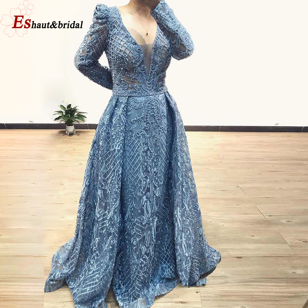 Dubai Full Lace Long Sleeves Evening Dress 2019 Mermaid V-neck Crystal Handmade Blue Arabic Formal Party Gown