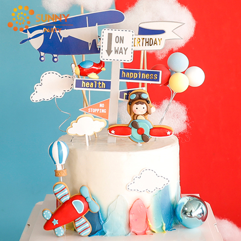 Boys Space Dream Airplane Theme Cake Decoration Cartoon Clouds Aircraft Happy Birthday Cupcake Topper Baby Party Baking Decor image