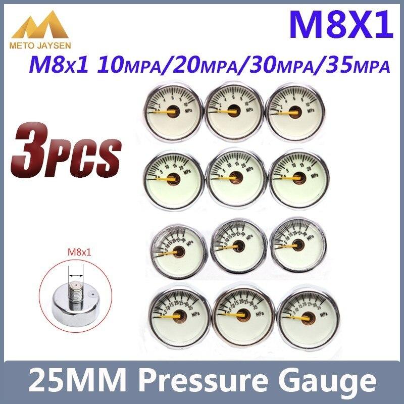 1 Inch High Pressure Gauge 25mm M8x1  Manometre PCP Paintball Airforce Pump Scuba Diving Valve Gauge 10mpa 30mpa 35mpa 3pcs/set