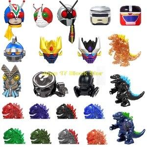 Kamen Rider Predator Alien Ultraman Monster Godmars Head MOC Anime Figure Building Blocks Educational Toys For Children Gift