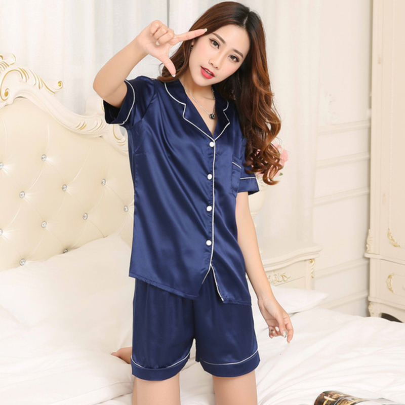 RICORIT Women 2 Piece Sleepwear Suits Faux Silk Satin Pajamas Set Long Sleeve Sleepwear Pajamas Suit Female Homewear Sleepwear