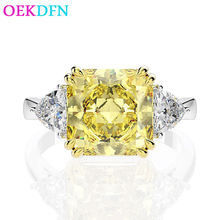925-Sterling-Silver Ring Jewelry Engagement-Rings Moissanite Citrine Created Gemstone