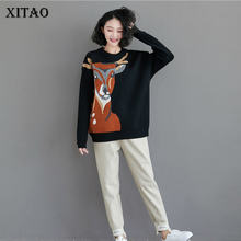 XITAO Sika Deer Pattern Sweater Plus Size Fashion Women Clothes 2020 Spring New Leisure Knitwear Loose Pullover Women DMY2456(China)