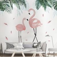 [Shijuekongjian] тропические листья наклейки на стену DIY Фламинго настенные наклейки с животными для дома гостиной детской спальни украшения