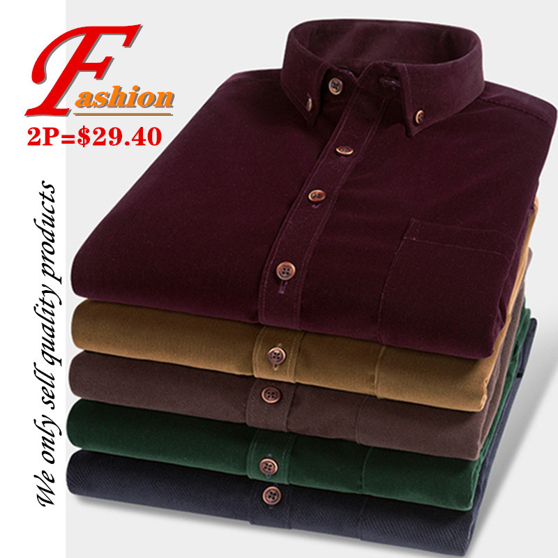 High-grade New Men's Plus-size Comfortable Breathable Fashion Crease Proof No-iron Noble British Classic Style Corduroy Shirt