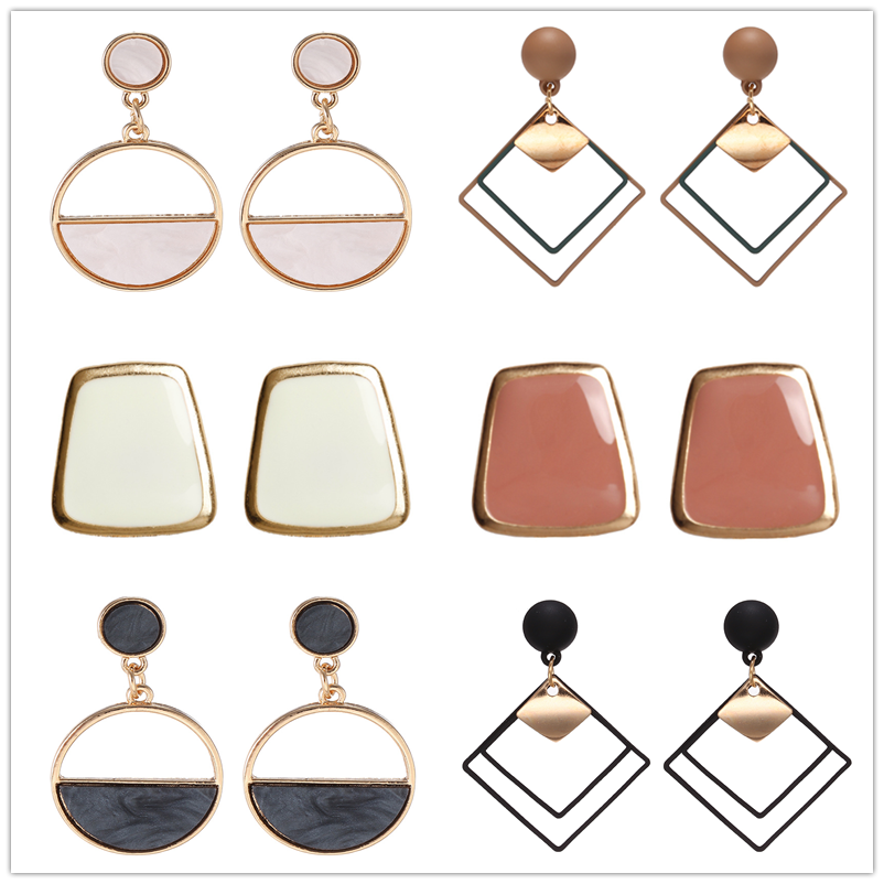 2019 Handmade Fashion Simple Geometric Crcular Metal Earrings Girls Popular Punk Drop Earrings Jewelry
