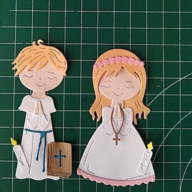 Angelical Praying Boy&Girl Metal Cutting Dies Praying Boy&Girl Die Cut For Card Making DIY Decoration New 2019 Crafts Cards