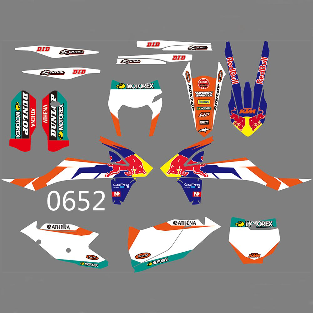 For KTM SX SXF 125 200 250 300 350 400 450 500 2016 2017 2018 2019 Stickers Kit Bull Full Graphics Decals Custom Number Name