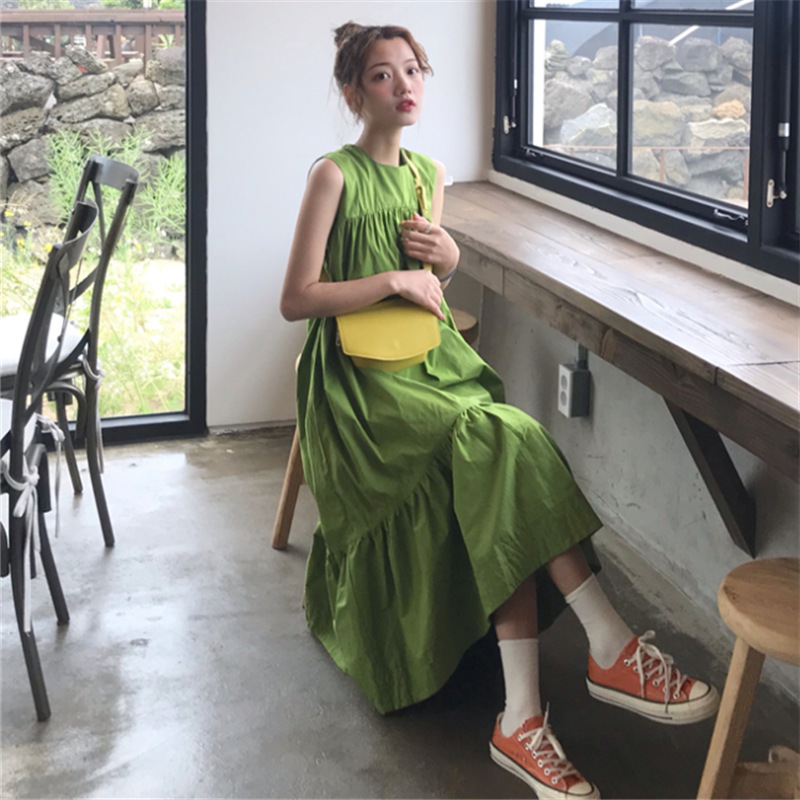 Photo Shoot 2019 Summer New Style WOMEN'S Dress Korean-style Avocado Green Loose Sleeveless Big Hemline Fashion Dress
