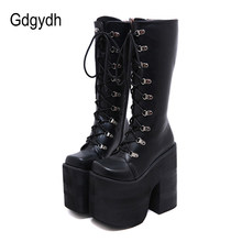 Gdgydh büyük boy 43 kalın Platform aşırı yüksek topuklu 17cm serin motosiklet çizmeler Punk stil ayakabı diz yüksek çizmeler kış