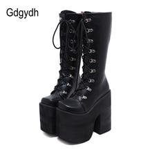 Gdgydh-botas para mujer de tacón alto extremo con plataforma gruesa, zapatos de tacón grueso de 17cm, estilo Punk, botas hasta la rodilla, talla grande 43, para invierno