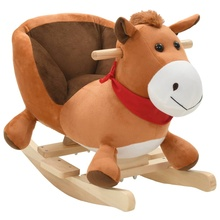 Horse-Toys Trojan-Horse Home-Chair Rocking Animal Kids Soft Plush Car Birthday-Gifts