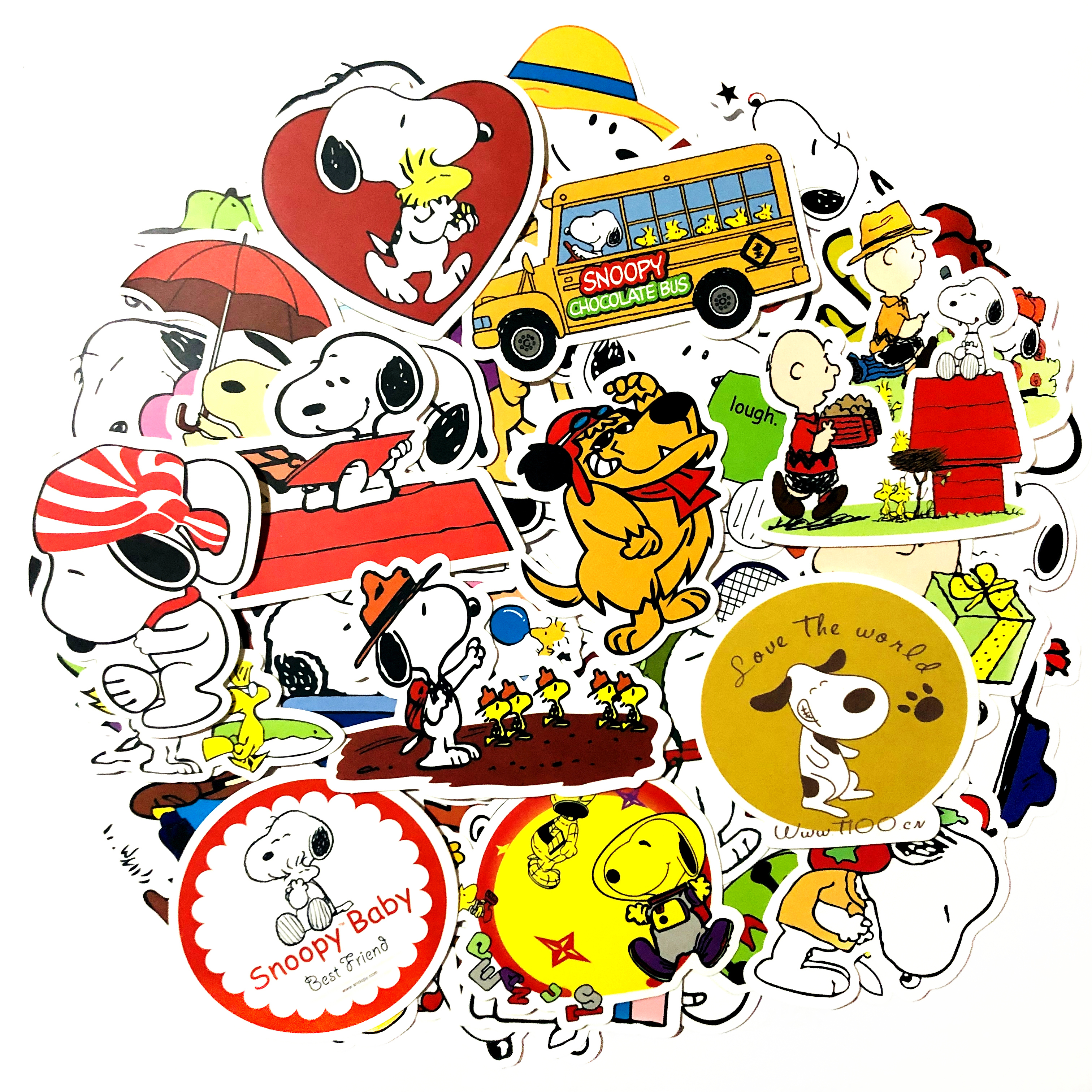 Image 2 - 50/100pcs cartoon Snoopy stickers For Laptop Skateboard Luggage Decal Office Toy Appliances netbook waterproof stickers-in Stickers from Toys & Hobbies