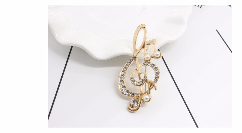 Musical Note Rhinestone Brooch with Pearl and Crystal