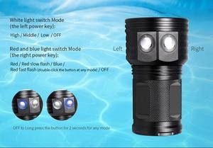 Image 5 - IPX8 جديد الغوص مضيا 18650 الشعلة تحت الماء التصوير أضواء الغطس فيديو مصباح أبيض أحمر أزرق LED الغوص صور ملء الإضاءة