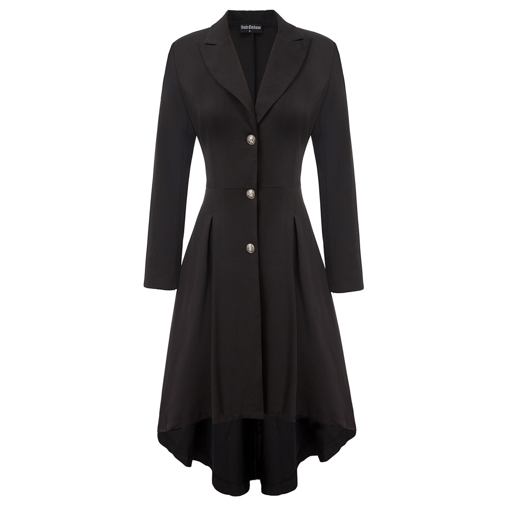 Vintage Coat Women High-Low Hem Trench Coat Long Sleeve Lapel Collar Button Placket Autumn Fall Lady Black Elegant Slim Outwear