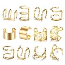 10-12 pçs clipe de aço inoxidável na orelha brincos de punho falso brincos de cartilagem folhas de ouro não piercing conjunto de brincos para mulher