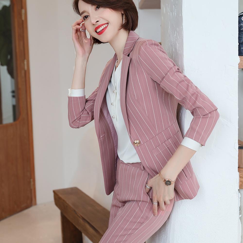 Fashion women casual pant suit largest size 5XL Green Pink Striped suit Jackets And pant 2 Piece sets suits 39