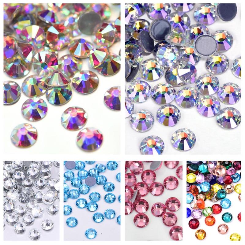 Diamantes de imitación de Cristal AB Hotfix, Strass de vidrio para decoración de uñas ZZ074, todos los tamaños, 44 colores