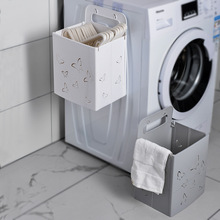 Foldable Laundry Basket Hole-Free Wall Hanging Bathroom Dirty Clothes Storage Basket Daily Necessities