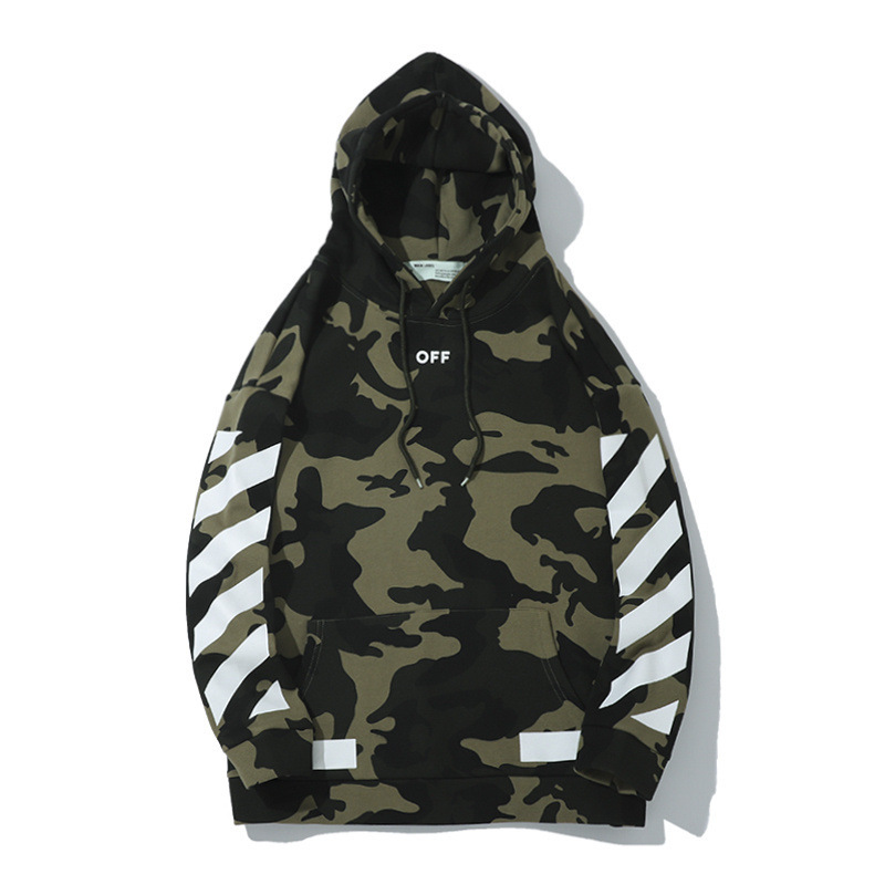 Autumn And Winter Off Camouflage Printed Men's Sweatshirts & Hoodies Europe And America Ow White Arrowhead Printed Men And Women