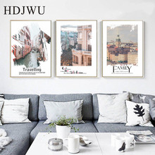 Nordic Art Home Wall Canvas Painting  Picture Building Scenery Printing Poster for Living Room AJ00474