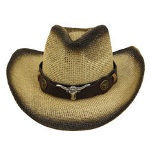 Topi Jerami Pria Pria Retro Liar Barat Koboi Topi Riding Leather Belt Topi Fashion Barat Kepala Hiasan Kepala Cap Gorra(China)
