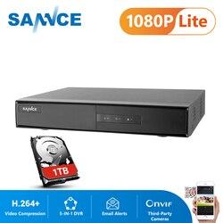SANNCE 4/8 канал 1080P 5-в-1 безопасности DVR 1080P Гибридный CCTV видео Регистраторы 4/8CH под куполом для домашнего видеонаблюдения Системы