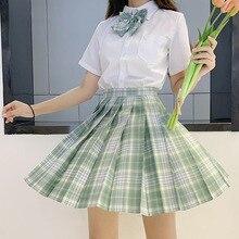 Japanese School Uniforms Green Skirts Girl's Dresses JK Suits Bowknot Shirt Female Sailor Costumes Dress Clothes for Women