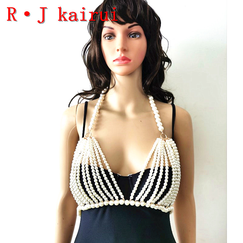 New RJPE11 Fashion Women Gold Chains Layers Imitation Pearls Top Bra Chains Body Costume Jewelry 2 Colors