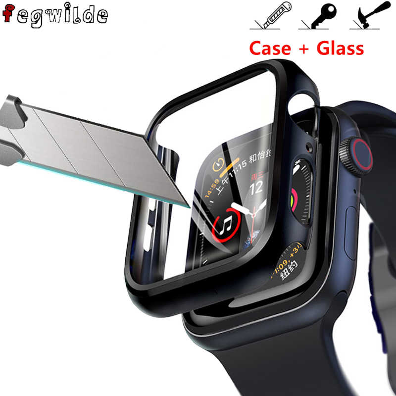 Protector de pantalla para apple watch 44mm 40mm iWatch 5 4 3 2 1 42mm 38mm vidrio templado + cubierta parachoques apple watch Accesorios