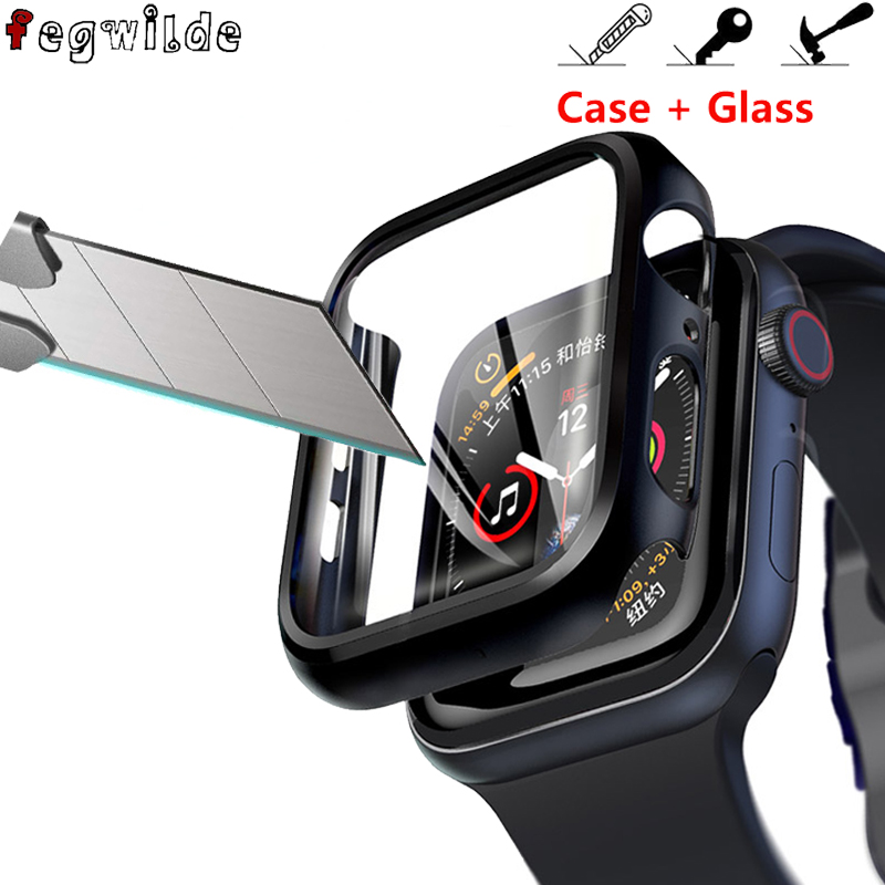 Screen Protector Case For Apple Watch 44mm 40mm IWatch 5 4 3 2 1 42mm 38mm Tempered Glass+cover Bumper Apple Watch Accessories