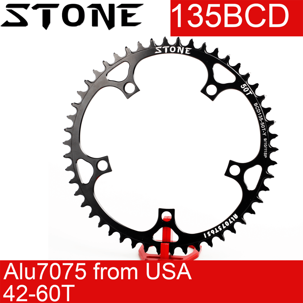Cadena de piedra 135 BCD, rueda dentada redonda angosta de diente ancho 42 44 48 50 52 54 56 60T, rueda dentada para bicicleta 135bcd